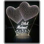 3 Boyutlu Led Lamba KİŞİYE ÖZEL Lazer Kazıma - Üçgen Kalp deseni