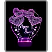 3 Boyutlu Led Lamba KİŞİYE ÖZEL Lazer Kazıma - Yuvarlak Kalp deseni