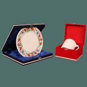 Seramik Mavi osmanlı tabak + Porselen Beyaz Kupa + özel kadife kutu + tasarım + baskı