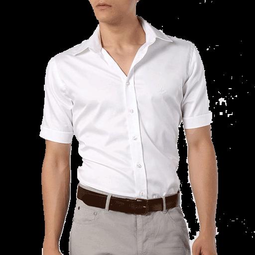 Kısa Kol Beyaz ERKEK Gömlek - Öne A5 Logo ve Yazı  Baskı