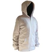 Beyaz Kapşonlu Önü Fermuarlı Sweatshirt Baskı