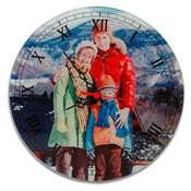 Cam Rodaj Duvar Delikli Saat 20x20 cm + baskı