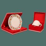 Seramik Kırmızı osmanlı tabak + Porselen Beyaz Kupa + özel kadife kutu + tasarım + baskı