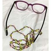 Gözlük İpi - Bordo İpli Pembe ve Yeşil Çiçekli Boncuk Dizgi