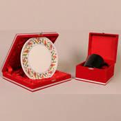 Seramik Kırmızı osmanlı tabak + Seramik Sihirli Kupa + özel kadife kutu + tasarım + baskı