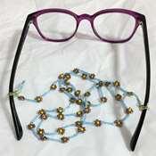 Gözlük İpi - Mavi İpli Sarı Çiçekli Boncuk Dizgi